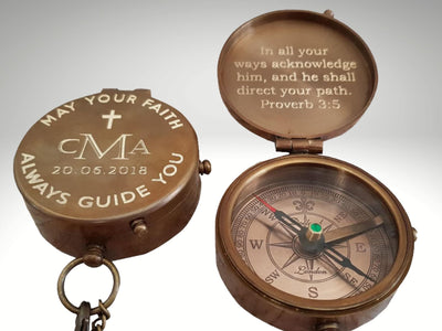 custom engraved  baptism compass