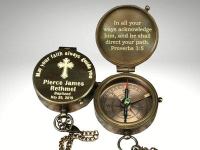 engraved baptism compass