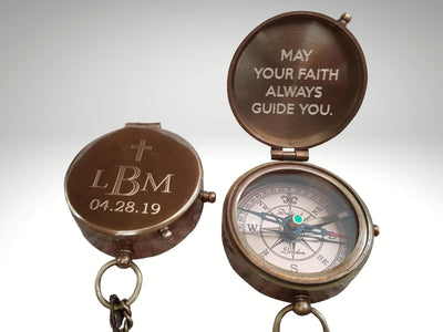 personalized engraved compass for baptism gift