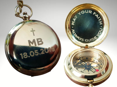 custom engraved compass gift for baptism boy