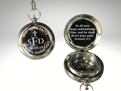 custom engraved silver compass gift for baptism day