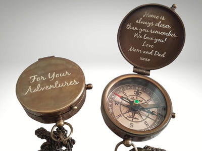 personalized engraved compass gift