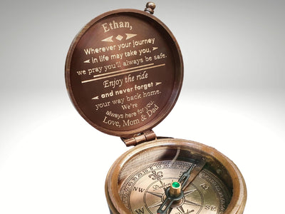engraved compass gift for son