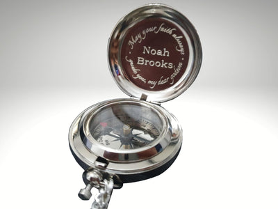 personalized custom silver compass