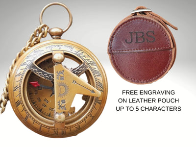 engraved compass gift with custom leather case