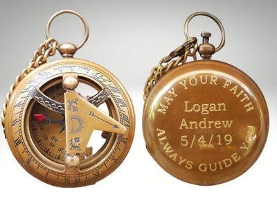 custom engraved compass gift for baptism