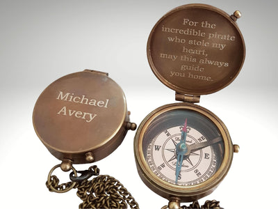 engraved working compass gift
