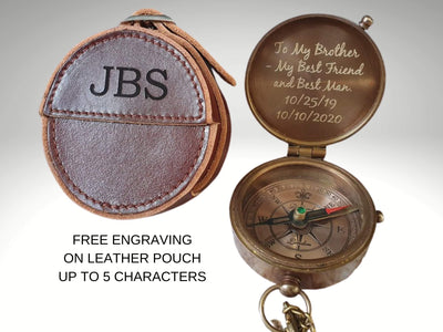 engraved compass with custom leather case