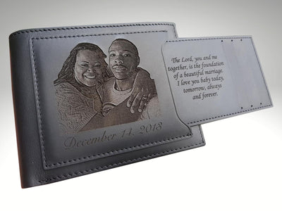 personalized engraved mens leather photo wallet