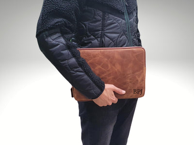 personalized leather laptop sleeve