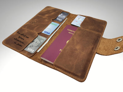 personalized leather long wallet with passport pocket