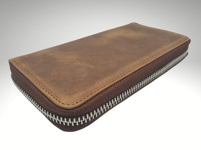 custom engraved long leather zipper wallet