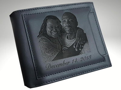 custom mens leather wallet with photo engraving