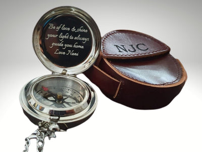 engraved silver compass with free leather pouch