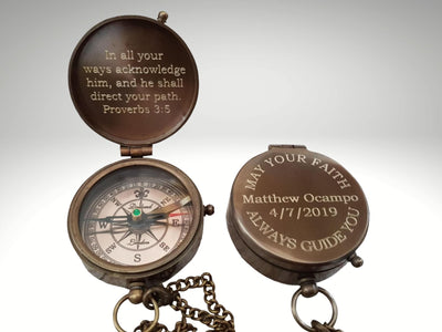 first holly communion engraved compass gift