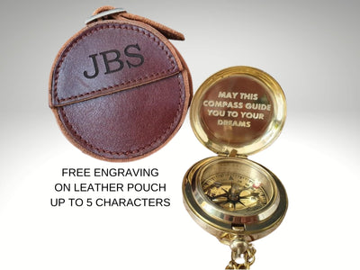 personalized brass compass with free leather case engraving
