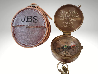 engraved functional compass