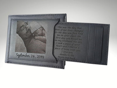 custom mens leather wallet with picture engraving