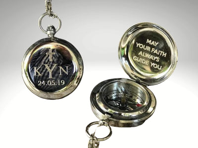 personalized silver baptism compass