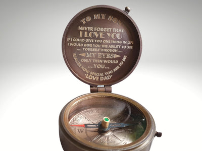 to my son engraved compass