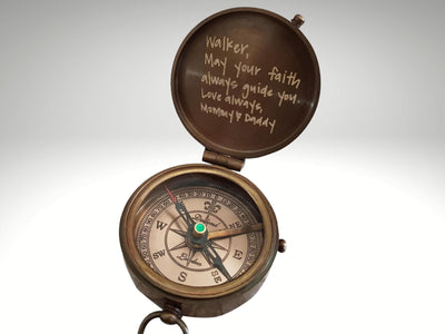 engraved working compass gift with handwriting engraving