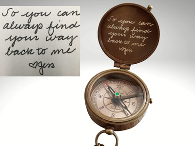 own handwriting engraved compass gift