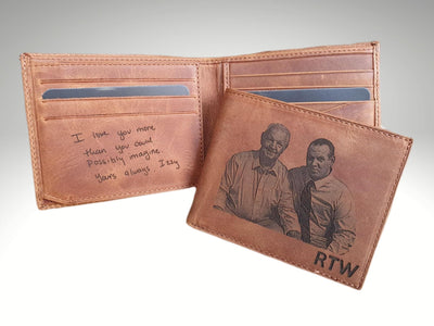 mens leather photo wallet engraving