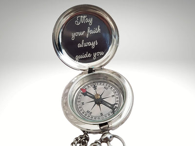may your faith always guide you engraved silver compass