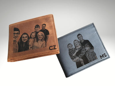 mens picture wallet with own handwriting engraving