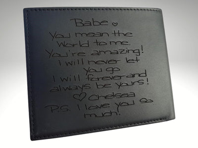 personalized mens photo wallet with handwriting engraving