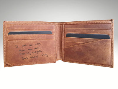handwriting mens wallet