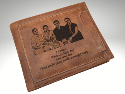 Genuine Leather Mens Wallet with Custom Photo Engraving