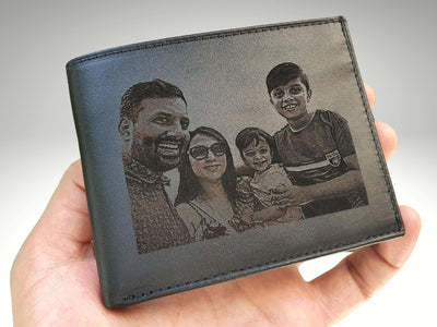 mens leather wallet with custom photo engraving