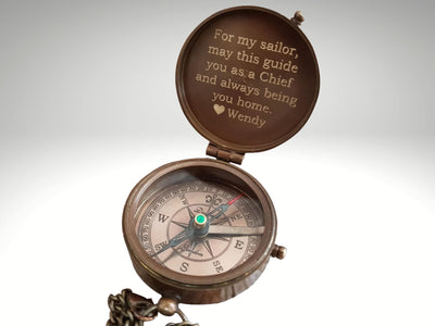 engraved working compass gift with for my sailor quote