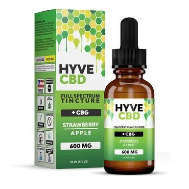 Hyve CBD Tincture Full Spectrum Strawberry Apple+CBG - 300mg-1200mg
