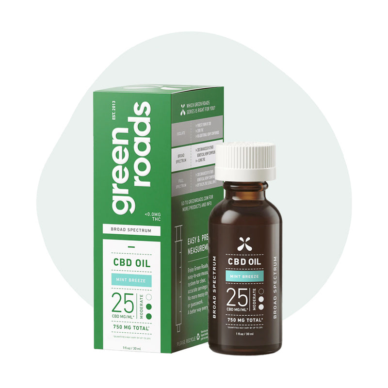 Green Roads CBD Tincture Broad Spectrum Mint Breeze Moderate 750mg - ErthBay