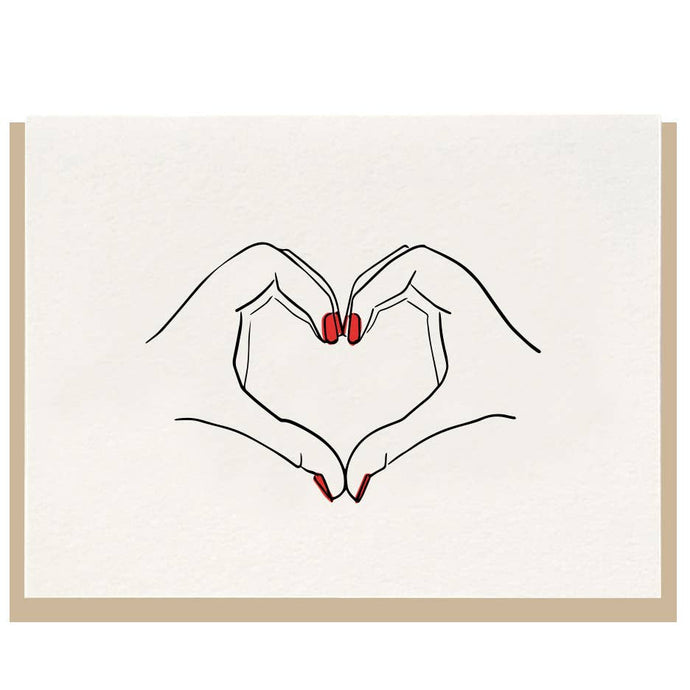 Dahlia Press Heart Hands Letterpress Card