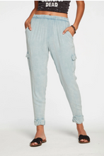 Load image into Gallery viewer, Chaser Woven Slouchy Rolled Cargo Pants - Powder Blue Cloud Wash
