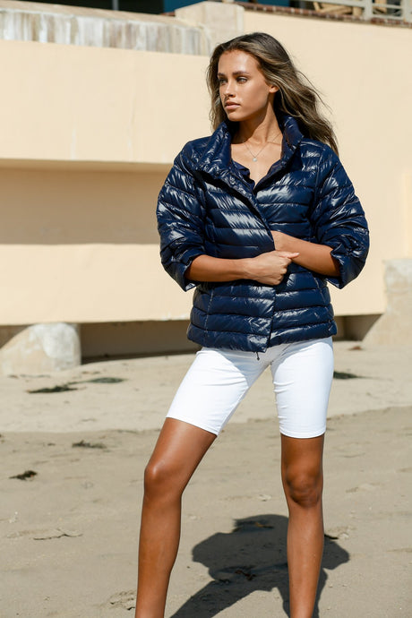 Anorak Crop Sleeve Puffer Jacket - Navy