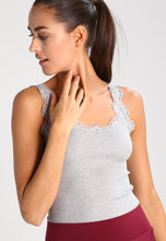 Load image into Gallery viewer, Rosemunde Regular Vintage Lace Silk Top - Light Grey