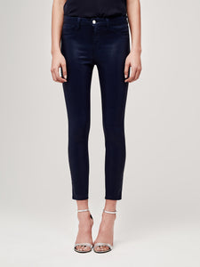L'Agence Margot High-Rise Skinny Coated Jean - Navy