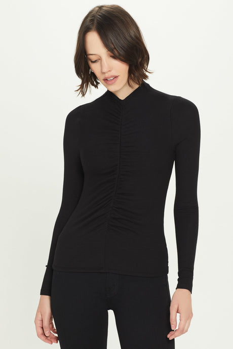 Goldie Ribbed Long Sleeve Ruched Front Rib Top - Black