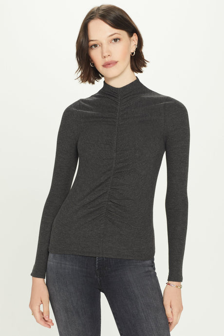 Goldie Ribbed Long Sleeve Ruched Front Rib Top - Charcoal Heather