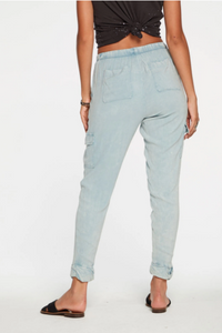 Chaser Woven Slouchy Rolled Cargo Pants - Powder Blue Cloud Wash
