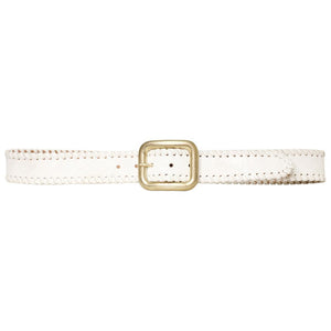 Streets Ahead Whip Stitch Belt - White w/Light Gold Buckle