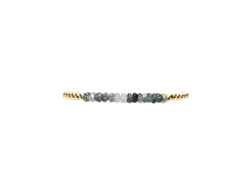 Karen Lazar 3MM Bracelet with Gemstones - MOSS AQUA