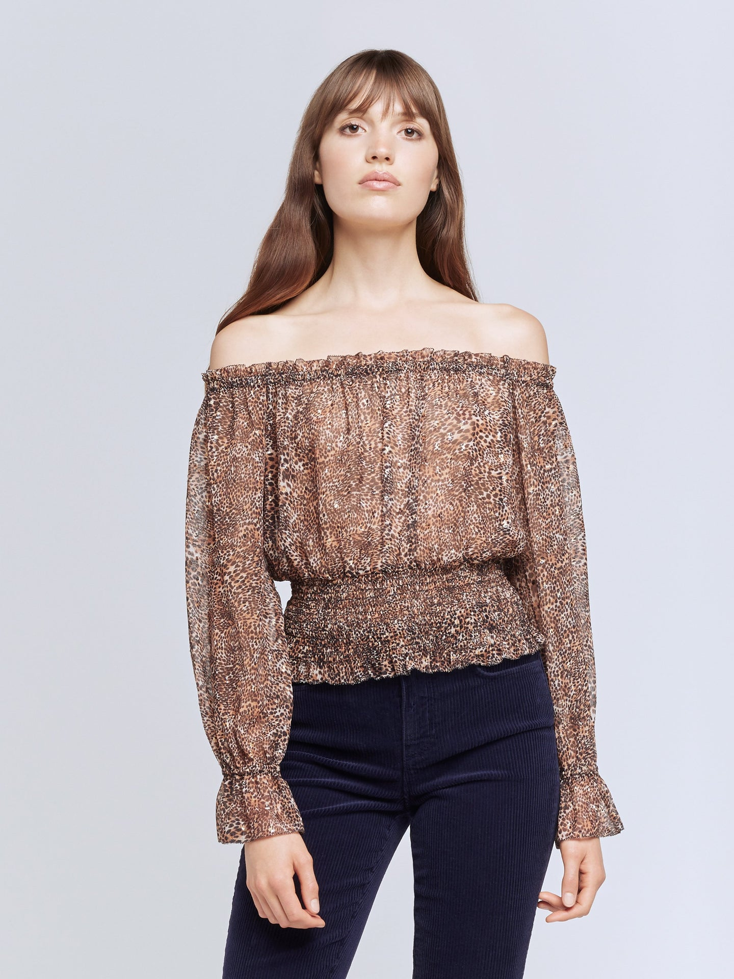 L'Agence Lilia Top - Brown/Black Small Cheetah