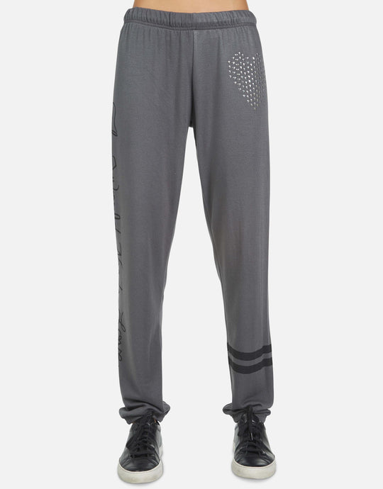 Lauren Moshi Brynn World Needs Love Sweatpant - Light Onyx