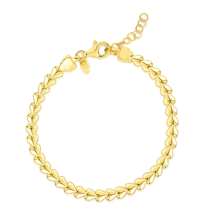 Milanesi And Co - 14k Gold Plated Sterling Silver Tennis Heart Bracelet