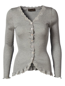 Rosemunde Regular Vintage Lace Silk Cardigan - Light Grey